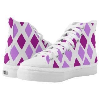 Heliotropische violette Auberginen-Diamanten Hoch-geschnittene Sneaker