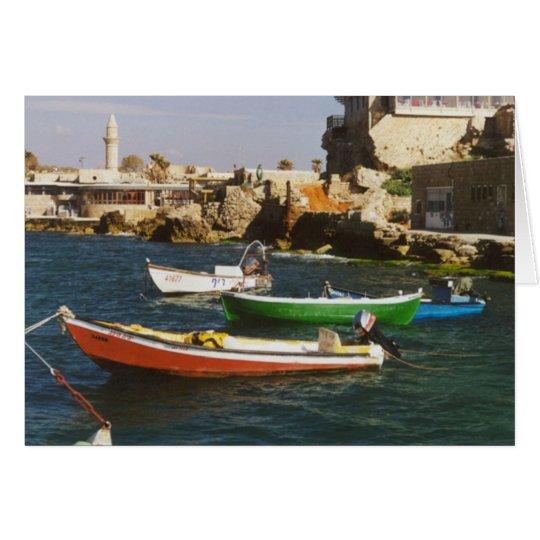 Hell farbige Boote Grußkarte