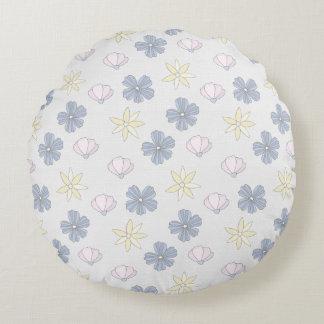 Hellblaue Blumen, Körper-Rückseite Rundes Kissen