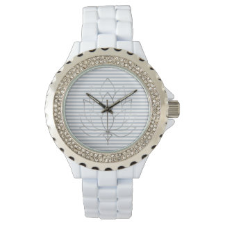 Hellblaue graue und weiße Streifen mit Lotos-Blume Uhr