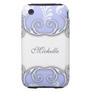 Hellblaue und weiße Blumendamast-Hochzeit iPhone 3 Tough Cases