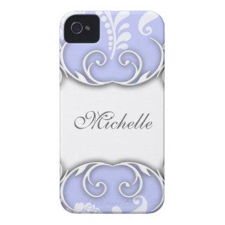 Hellblaue und weiße Blumendamast-Hochzeit iPhone 4 Hülle