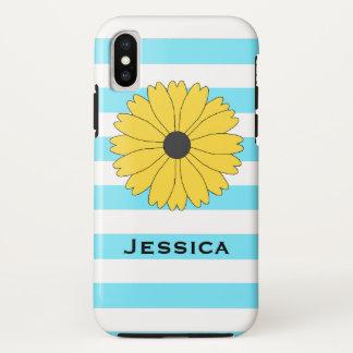 Hellblaue und weiße Streifen schwarzer mit Augen iPhone X Hülle