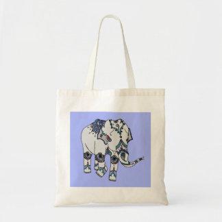 Hellblaue verschönerte Elefant-Tasche Tragetasche