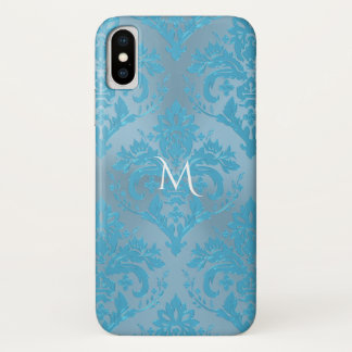 Hellblauer Damast-Monogramm iPhone X Fall