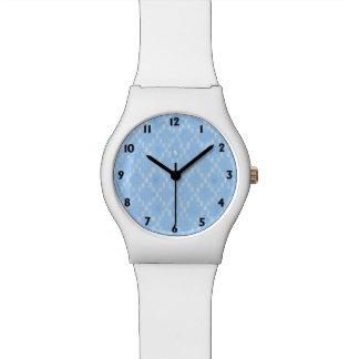 Hellblauer Diamant-Muster-Druck Uhr