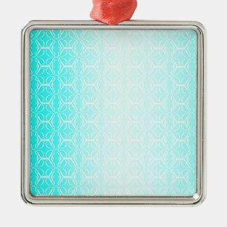 Hellblauer verbundener Hintergrund Quadratisches Silberfarbenes Ornament