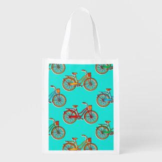 Hellblaues Fahrrad-wiederverwendbare Einkaufstüte Wiederverwendbare Einkaufstasche