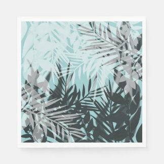 Hellblaues schwarzes tropisches Muster Papierserviette