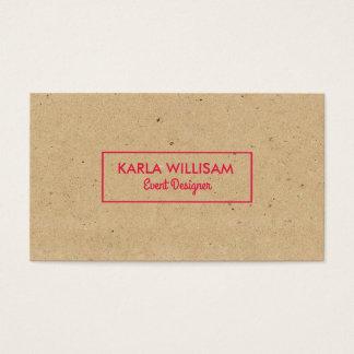 Hellbrauner Handwerks-Papier-hochrotes Rot-Akzent Visitenkarte