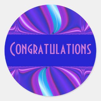 helle blaue rosa Glückwünsche Runder Aufkleber
