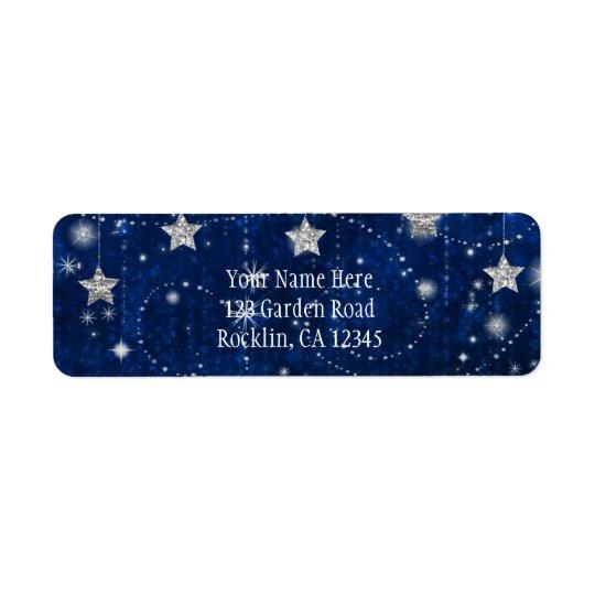 Helle blaue u. silberne sternenklare himmlische Rückversand-Adressaufkleber