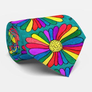 Helle Boho Hipsterwatercolor-Regenbogen-Blume Krawatte