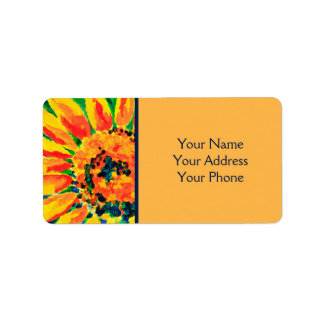 Helle bunte Single-Sonnenblume-Acrylmalerei Adress Aufkleber