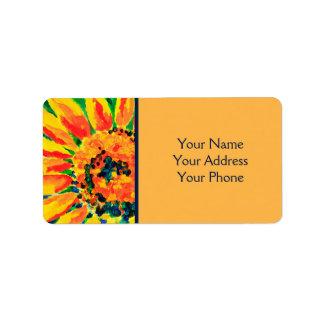 Helle bunte Single-Sonnenblume-Acrylmalerei Adressaufkleber