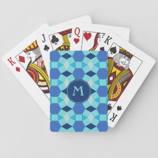 Helle dunkelblaue Fliesen des Monogramms Spielkarten