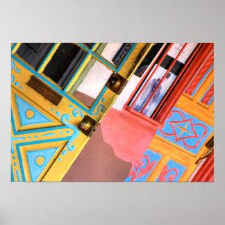 Helle farbige südwestliche Türen Poster