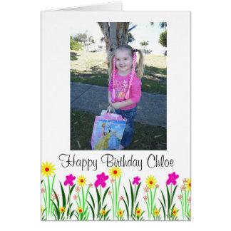 Helle Frühlings-Blumen kundenspezifisches Chloe Grußkarte