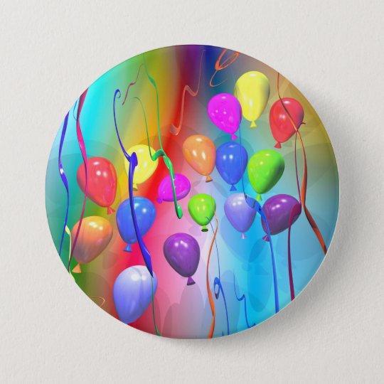 Helle Geburtstags-Ballone Runder Button 7,6 Cm