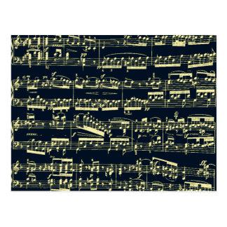 Helle gelbe Beethoven-Noten auf Blau Postkarte