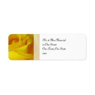 Helle gelbe glühende Rosen-Hochzeit Kleiner Adressaufkleber