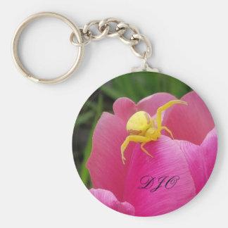 Helle gelbe Krabbenspinne-Rosa-Tulpeinitialen Schlüsselanhänger