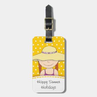 Helle gelbe Sonnehut-Mädchenpolka nannte Gepäck Anhänger