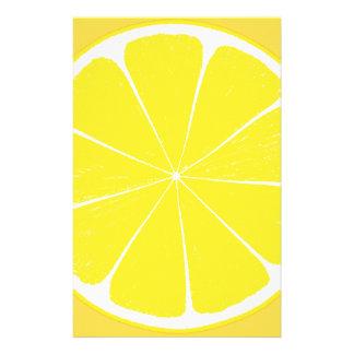 Helle gelbe Zitronen-Zitrusfrucht-Scheibe Briefpapier