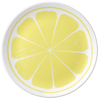 Helle gelbe Zitronen-Zitrusfrucht-Trennplatte Teller