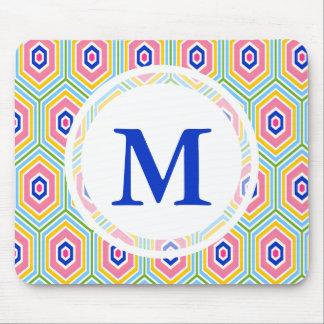Helle geometrische Muster-Gewohnheits-Initiale Mousepads