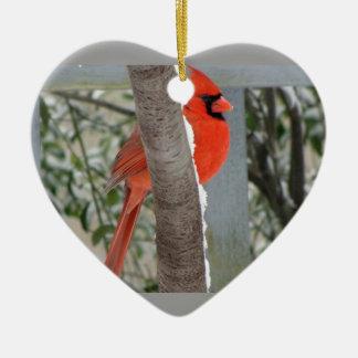 HELLE KARDINALS-WAND-VERZIERUNG KERAMIK Herz-Ornament