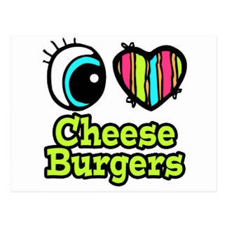 Helle Liebe-Cheeseburger des Augen-Herz-I Postkarte