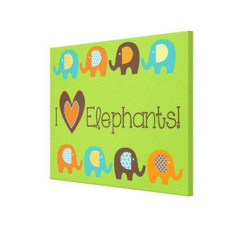 Helle Liebe-Elefanten der Farbei wickelten Leinwanddruck