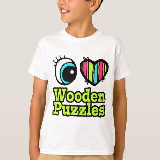 Helle Liebe-hölzerne Puzzlespiele des Augen-Herz-I T-Shirt