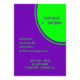 helle lila grüne Modkreishochzeit 11,4 X 15,9 Cm Einladungskarte