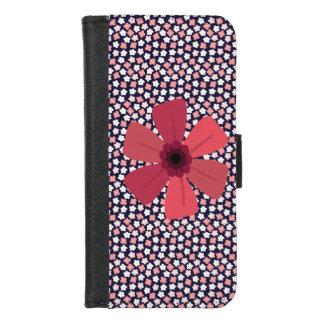 Helle Marine Ditsy mit Blumen iPhone 8/7 Geldbeutel-Hülle