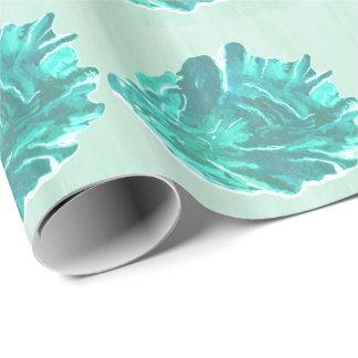 Helle moderne cyan-blaue Austern-Muschel Geschenkpapier