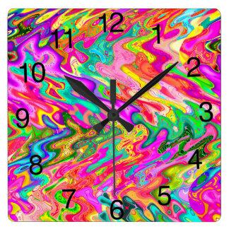 Helle, mutige Farbabstrakte Entwurfs-Uhr Quadratische Wanduhr