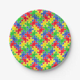 Helle Primärfarbpuzzle-Stücke Pappteller 17,8 Cm