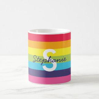 Helle Regenbogen-Streifen-Initialen-Namen-Tasse Tasse