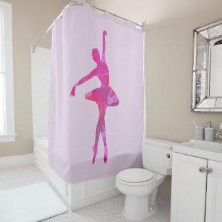 Helle rosa Aquarell-Ballerina Duschvorhang