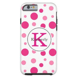 Helle rosa Polka-Punkte individueller Name u. Tough iPhone 6 Hülle