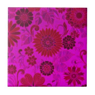 Helle rosa Retro Blumen Kleine Quadratische Fliese