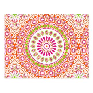 Helle rosa und orange Frühlingmandala-Blume Postkarte