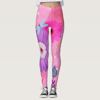 Helle rosa wunderliche Blumen-Gamaschen Leggings