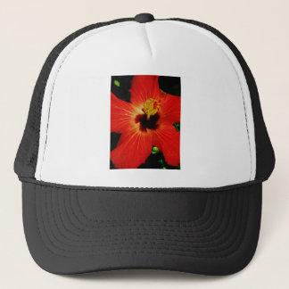 Helle rote orange Hibiskus-Blume Truckerkappe