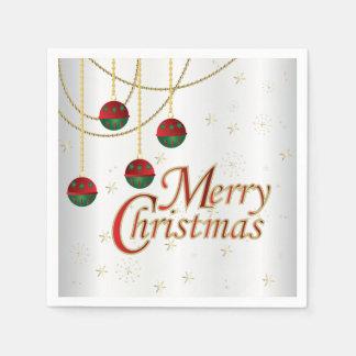 Helle weiße frohe Weihnachten Papierservietten