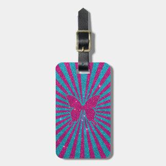 Heller blauer und rosa Glitter-Schmetterling und S Gepäck Anhänger