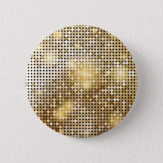 Heller funkelnder goldener runder button 5,7 cm