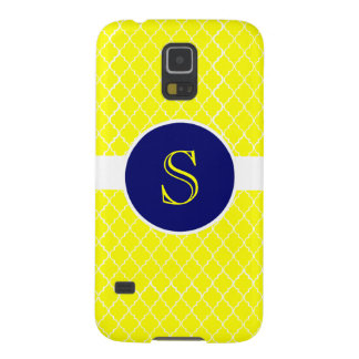 Heller gelber Quatrefoil mit Monogramm Samsung Galaxy S5 Hüllen